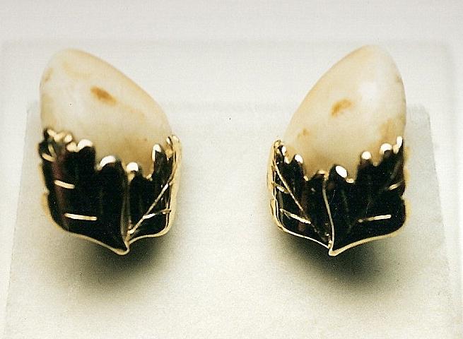 Boutons de manchette dents et feuilles de chêne